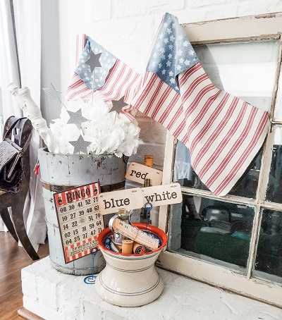 Patriotic Farmhouse Look using Repurposed Vintage Items
