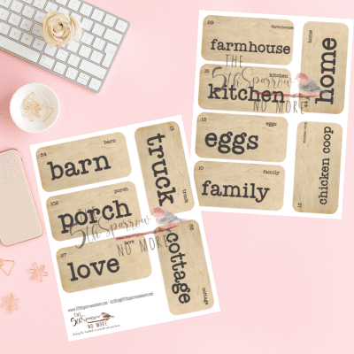 The Farmhouse Love Digital Vintage Flashcards is a printable set of eleven spring and garden themed flashcards for home décor and paper crafts.