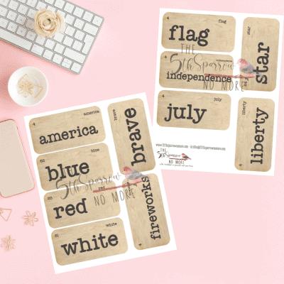 Fourth Of July Vintage Vocabulary Flashcards