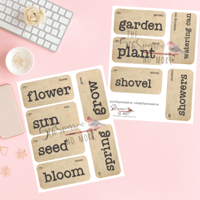 The How Does Your Garden Grow Digital Vintage Flashcards is a printable set of eleven spring and garden themed flashcards for home décor and paper crafts.