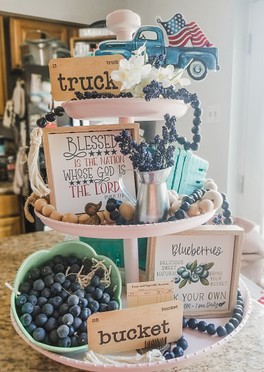 Red, White and Blueberry Tiered Tray