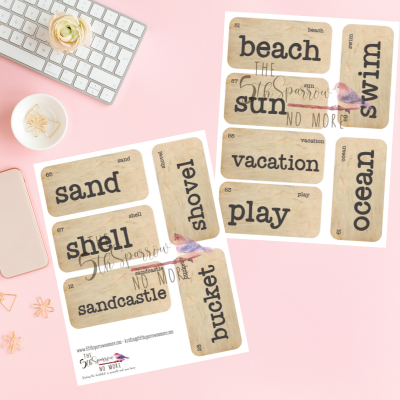 printable set of eleven beach and vacation themed flashcards