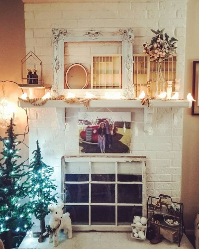 Framemakeover and repurpose Winter mantel