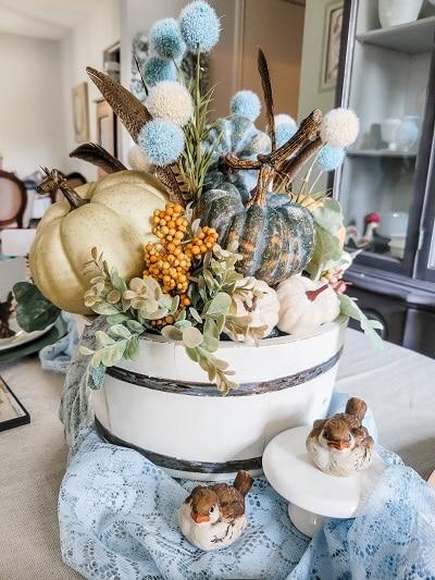 Fall Table Centerpiece in a recreated Firkin