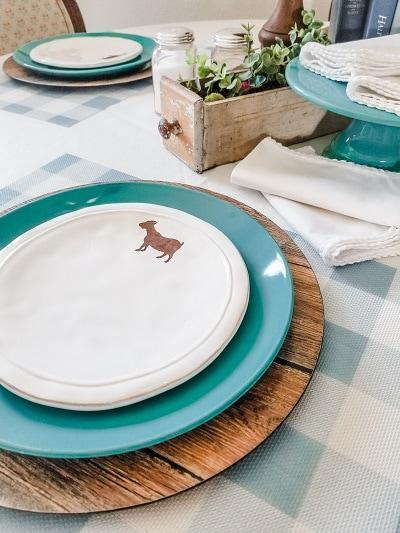 A Wood, White and Plaid Farm Animal Table